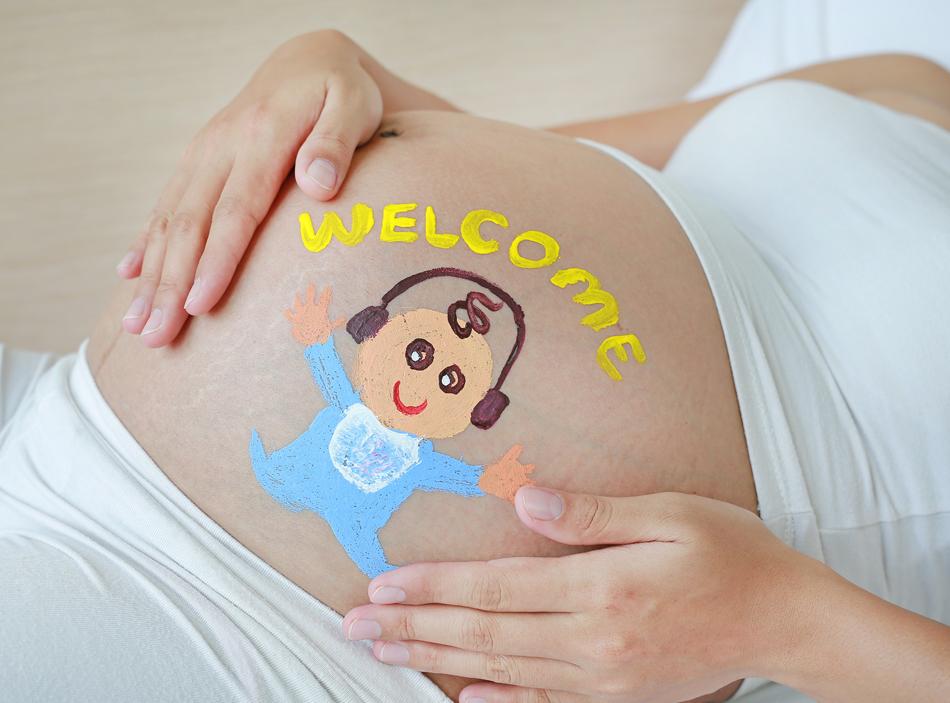 懷孕後期媽媽肚子
