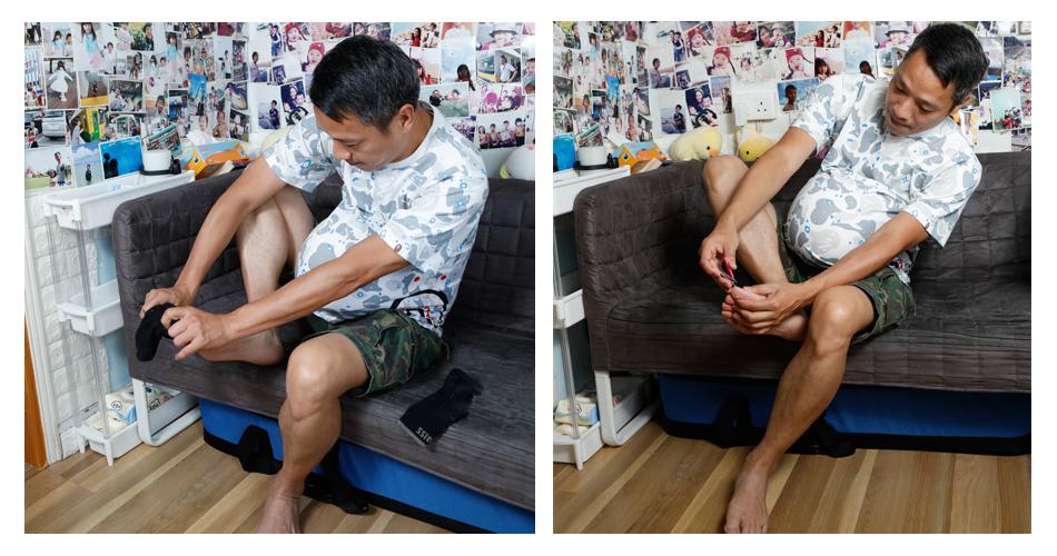 孕肚爸爸挑戰穿襪